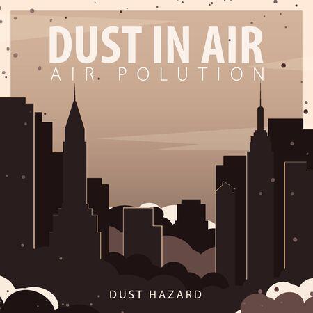Dust in Air. Dust hazard. Polluted air in City. Vector Illustration