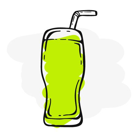 Fresh Mojito in a glass. Banner smoothies, lemonade, fresh, juice, detox in sketch style