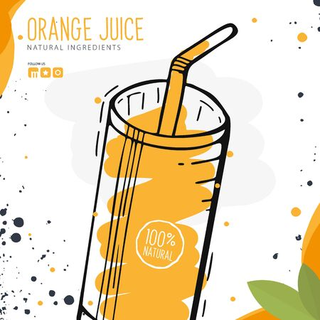 Orange Juice in a glass. Banner smoothies, lemonade, fresh, detox in sketch style Çizim