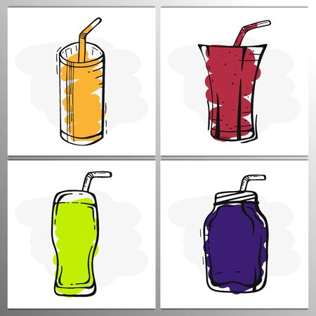 Set of Orange, Grape, Strawberry Juices and Mojito in a glass. Banners smoothies, lemonade, fresh, detox in sketch style