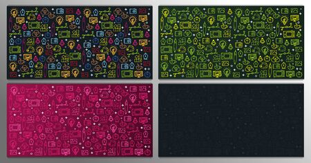 Set of Graphic Design Backgrounds with hand draw doodle elements
