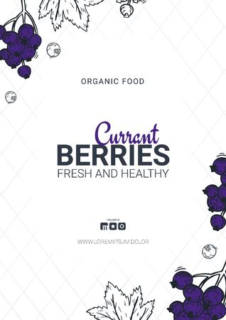 Berries banner with currants. Food design template with berry.