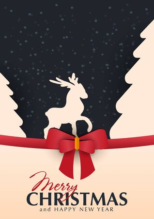 Christmas and New Year banner. Xmas greeting card with red bow and snowflakes. Ilustração