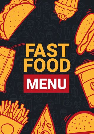 FastFood Menu with tasty dishes. Burger, French Fries, Soft Drinks and Coffee. Hand draw doodle background.