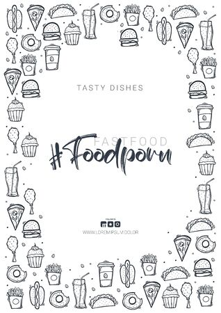 FoodPorn banner with FastFood dishes. Burger, French Fries, Soft Drinks and Coffee. Hand draw doodle background.