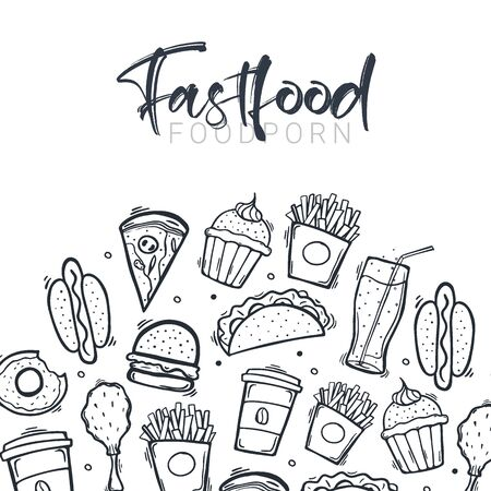 FastFood banner with tasty dishes. Burger, French Fries, Soft Drinks and Coffee. Hand draw doodle background.