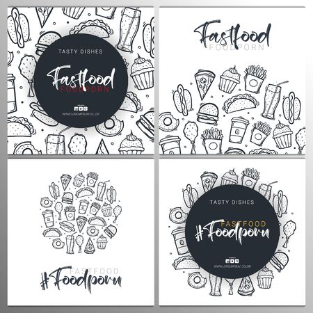 Fast Food and FoodPorn banner with tasty dishes. Burger, French Fries, Soft Drinks and Coffee. Hand draw doodle background.