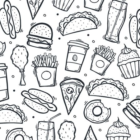 FastFood hand draw doodle background with tasty dishes. Burger, French Fries, Soft Drinks and Coffee.
