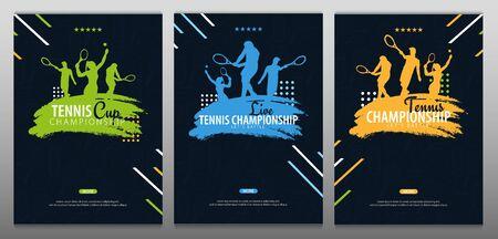 Set of Tennis Championship banners, design with player and racquet on dark background. Vector illustration. Ilustração