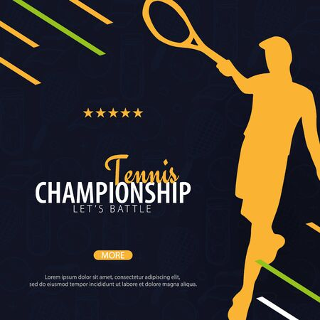 Tennis Championship banner, design with player and racquet on dark background. Vector illustration.