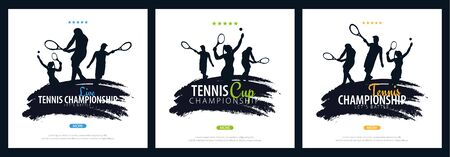 Set of Tennis Championship banners, design with player and racquet on white background. Vector illustration. Ilustração