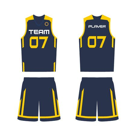 Basketball jersey, shorts, template for basketball club. Front and back view sport uniform. Ilustracja
