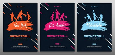 Set of Basketball banners with players and hand draw doodle background. Modern sports posters design. Ilustração