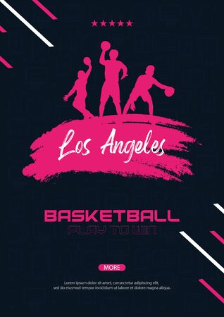 Basketball banner with players and hand draw doodle background. Modern sports posters design.