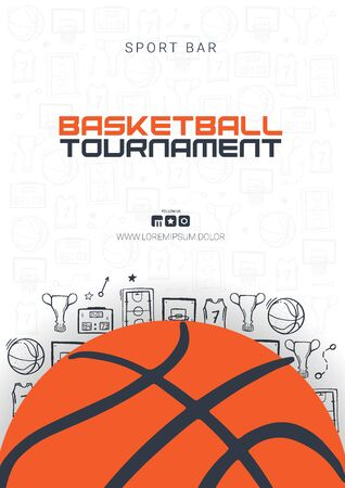 Basketball Tournament banner with basketball ball and hand draw doodle background. Modern sports posters design. Ilustração