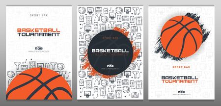 Set of Basketball Tournament banners with basketball ball and hand draw doodle background. Modern sports posters design.