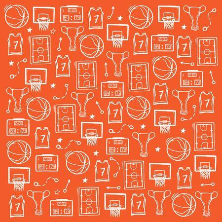 Basketball background with hand draw doodle elements Ilustração