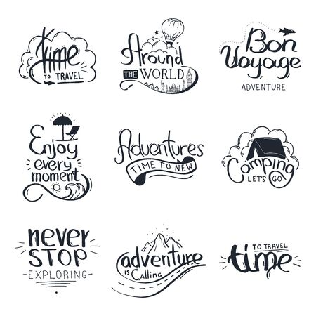 Set of Travel lettering. Travel life style inspiration quotes. Motivational typography. Calligraphy graphic design element.