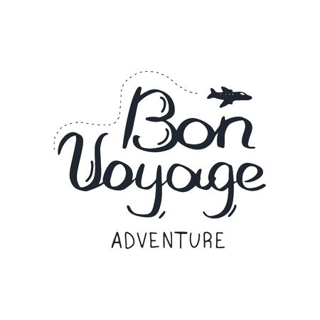 Bon Voyage. Travel lettering. Travel life style inspiration quotes. Motivational typography. Calligraphy graphic design element. Ilustração