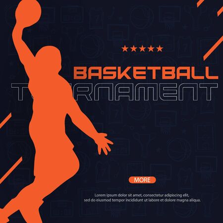 Basketball banner with players. Modern sports posters design. Ilustração