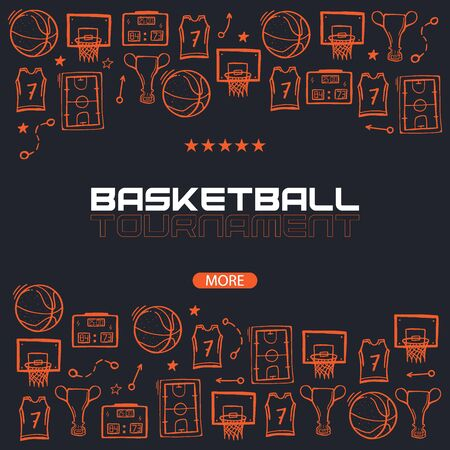 Basketball banner with hand draw doodle background Ilustração