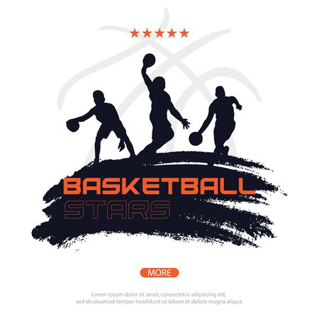 Basketball banner with players. Modern sports posters design. Çizim