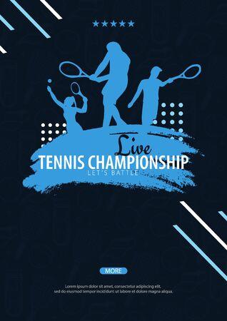 Tennis Championship banner, design with player and racquet on dark background. Vector illustration Foto de archivo - 135404309