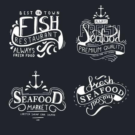 Restaurante de pescado. Dibujar letras a mano de mariscos frescos.