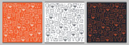Set of Basketball backgrounds with hand draw doodle elements.