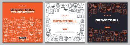 Basketball banner with hand draw doodle background. Stock fotó - 136830107