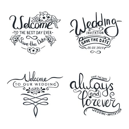 Set of Hand Draw Wedding letterings for invitation.