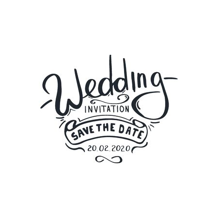 Wedding invitation. Hand Draw Wedding lettering. Stock fotó - 136830112