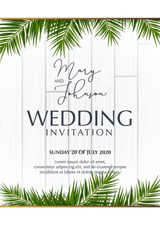 Wedding Invitation with palms on the white wooden background. Stock fotó - 136830111