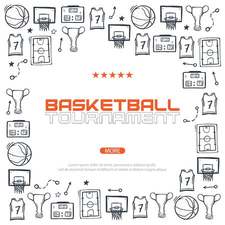 Basketball banner with hand draw doodle background. Stock fotó - 136830113