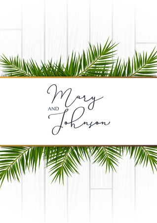 Wedding Invitation with palms on the white wooden background.