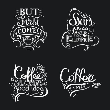 Set of Coffee lettering with quotes for prints and posters, menu design, invitation and greeting cards. Illusztráció