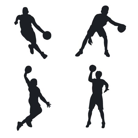 Vector set of Basketball players silhouettes. Vector illustration.