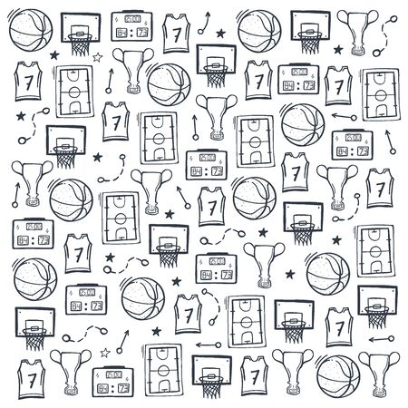 Basketball background with hand draw doodle elements. Stock fotó - 136830119