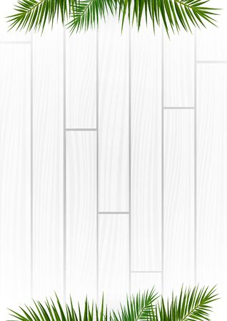 White Wooden background with exotic palm leaves Stock fotó - 137247325