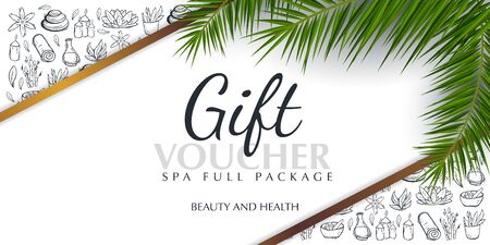 Spa or Beauty saloon Gift voucher with palm leaves and hand draw doodle background. Stock fotó - 137874335