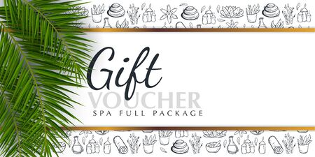 Spa or Beauty saloon Gift voucher with palm leaves and hand draw doodle background.