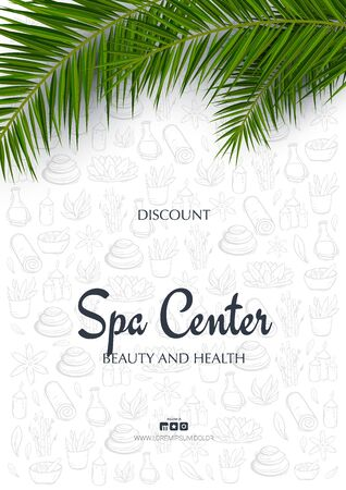 Spa and Relax banner with palm leaves and hand draw doodle background. Illusztráció
