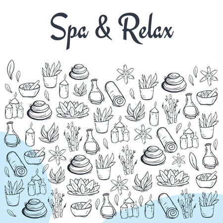 Spa and Relax Center banner with hand draw doodle background. Beauty Saloon Stock fotó - 137353721