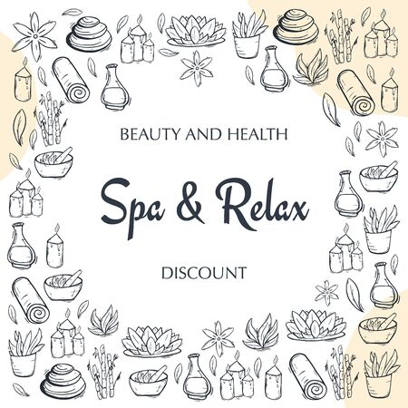 Spa and Relax Center banner with hand draw doodle background. Beauty Saloon Stock fotó - 137354415