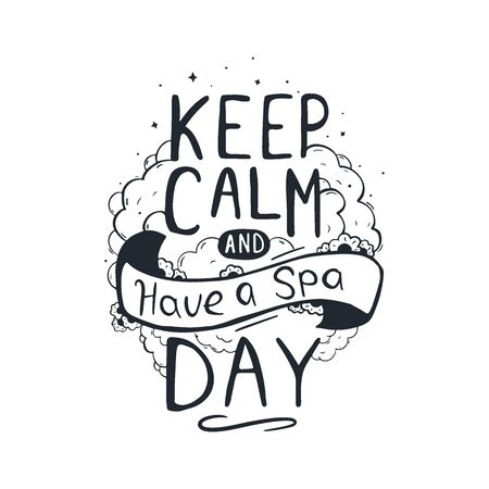 Spa and Relax Center hand draw lettering. Stock fotó - 137874342