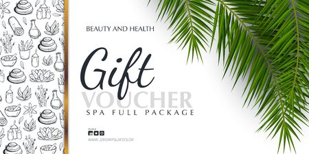 Spa or Beauty saloon Gift voucher with palm leaves and hand draw doodle background. Stock fotó - 137874345