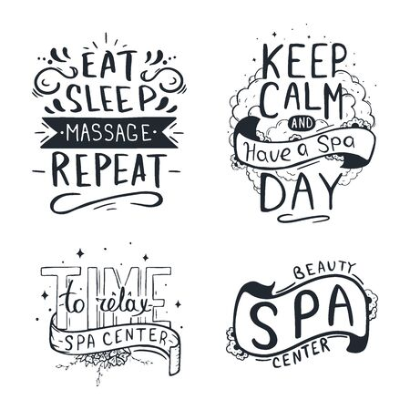 Set of Spa and Relax Center hand draw letterings.