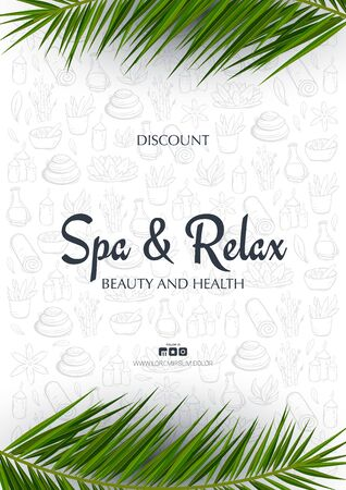 Spa and Relax banner with palm leaves and hand draw doodle background. Stock fotó - 137874351