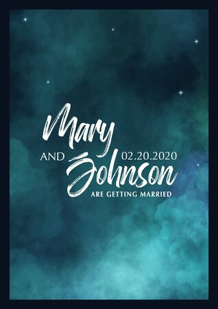 Wedding Invitation. Save the Date. Poster with cloudy background Stock fotó - 137790224