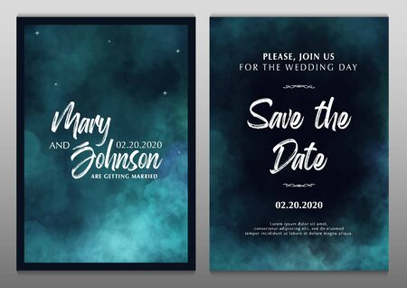 Wedding Invitation. Save the Date. Poster with cloudy background